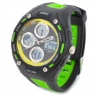 OHSEN AD1202-G Men's Sport Analog + Digital Quartz Wrist Watch - Black + Green (1 x SR626)