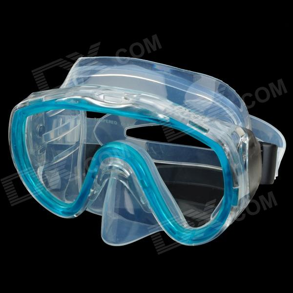 LOYOL M-1644-4 Tempered Glass Lens Diving / Swimming Glasses Goggles Mask - Green + Transparent