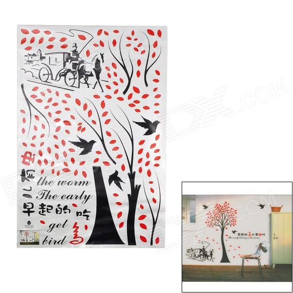DM69-0029 Tree & Pattern Bird removible etiqueta de la pared del fondo Dormitorio - Blanco + Rojo + Negro