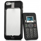 2-in-1 1.1'' Screen Display Bar Cellphone w/Genuine Leather Cover for Iphone 5 - Black + Silver