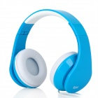 iLeAD MP3 Headband Foldable Headphone - Blue + White (3.5mm Plug)