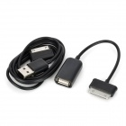 USB Male to 30-Pin Male + USB Female to 30-Pin Male OTG Cable for Samsung Galaxy Tab Series - Black