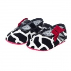 Lovely Sweet Baby Shoes - Black + White + Deep Pink (Pair)