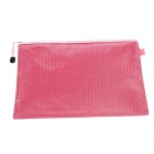 PVC + Cotton Zippered A4 Document File Holder Pocket - Pink