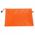 PVC + Cotton Zippered A4 Document File Holder Pocket - Orange