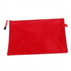 PVC + Cotton Zippered A4 Document File Holder Pocket - Red
