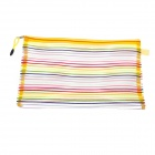 PVC Colorful Ribbon Reißverschluss A4 Document File Holder Pocket - Yellow + Multicolored