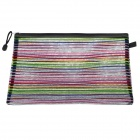 PVC Colorful Ribbon Zippered A4 Document File Holder Pocket - Multicolored