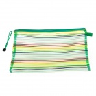 PVC Colorful Ribbon Zippered A4 Document File Holder Pocket - Green