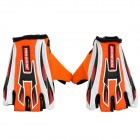 Professional Half-Fingers Anti-Slip Motorcycle Racing Gloves - Black + Orange + White (Size L)