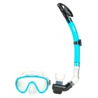 LOYOL Diving Snorkeling Scuba Snorkel w/ Goggles Mask Set - Black + Green
