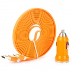 Car Charger + Flat Lightning 8-Pin Male Data Sync / Charging Cable for iPhone 5 - Orange (DC 12~24V)