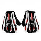 Professional Half-Fingers Anti-Slip Motorcycle Racing Gloves - Black + Red + White (Size L)