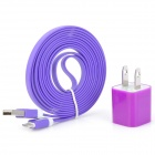 AC Power Adapter + USB to 8-Pin Lightning Charging / Data Cable Set for iPhone 5 - Purple