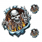 JY025 Skull Pattern Car Decoration Stickers - Grey + Blue + Yellow + Black