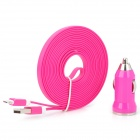Car Charger + Flat Lightning 8-Pin Male Data Sync / Charging Cable for iPhone 5 - Deep Pink (12~24V)