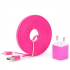 AC Power Adapter + USB to 8-Pin Lightning Charging / Data Cable Set for iPhone 5 - Deep Pink