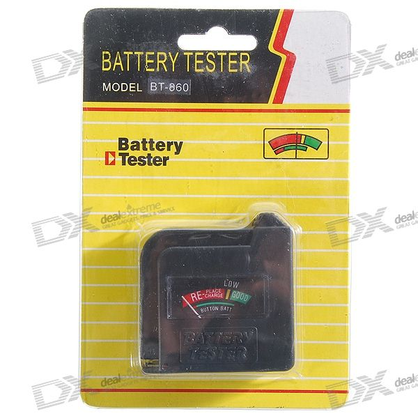 1.2V/1.5V/9V/Button Battery Power Level Tester