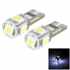 T10 0.9W 60lm 5-SMD 5050 LED White Light Car Bulbs - Yellow + Silver