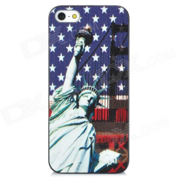 Statue of Liberty Pattern Plastic Back Case for Iphone 5 - Deep Blue + White statue of liberty pattern protective plastic case for iphone 4 4s blue white