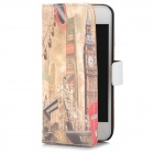 Ferris Wheel Pattern Flip-Open PU Case for iPhone 5 - Beige