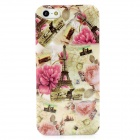 Eiffel Tower and Flowers Pattern Plastic Back Case for Iphone 5 - Multicolored