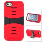 Protective Plastic + Rubber Case w/ Stand for iPhone 5 - Red + Black