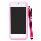 Silicone Back Case + Stylus Pen + Screen Guard Set for Iphone 5 - Pink