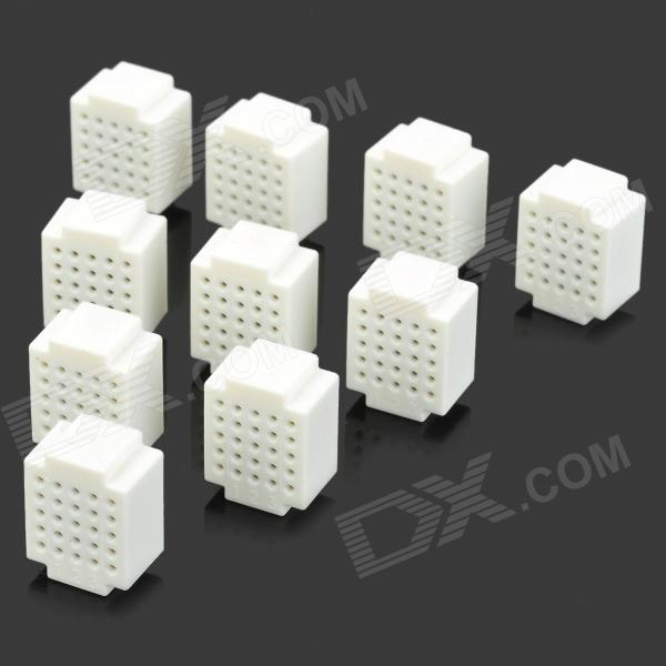 25 Points Mini Breadboard for Proto Shield - White (10 PCS) bbw005 170 points mini breadboard for arduino proto shield works with official arduino boards