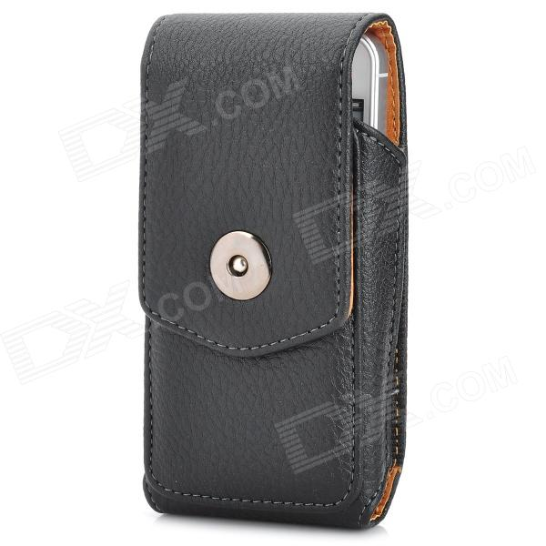 Lichee Pattern Protective PU Leather Case w/ Clip for Iphone 5 - Black
