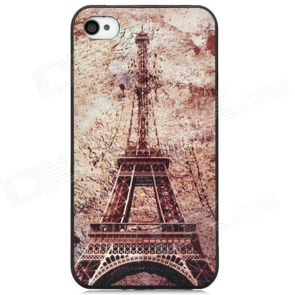 Retro Eiffel Tower Pattern PC Back Case for Iphone 4 / 4S - Black + Light Brown retro eiffel tower pendent sweater necklace bronze brown