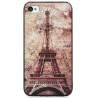 Retro Eiffel Tower Pattern PC Back Case for Iphone 4 / 4S - Black + Light Brown