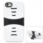 Protective Plastic + Rubber Case w/ Stand for Iphone 5 - Black + White