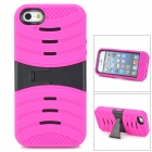 Protective Plastic + Rubber Case w/ Stand for iPhone 5 - Deep Pink + Black