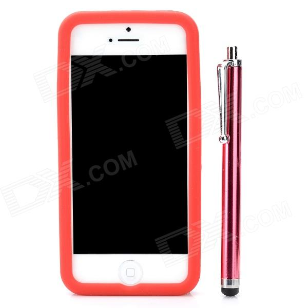 Protective Silicone Soft Back Case w/ Screen Protector + Stylus + Cleaning Cloth for Iphone 5 - Red protective silicone soft back case cover for iphone 5 white