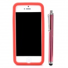 Protective Silicone Soft Back Case w/ Screen Protector + Stylus + Cleaning Cloth for Iphone 5 - Red