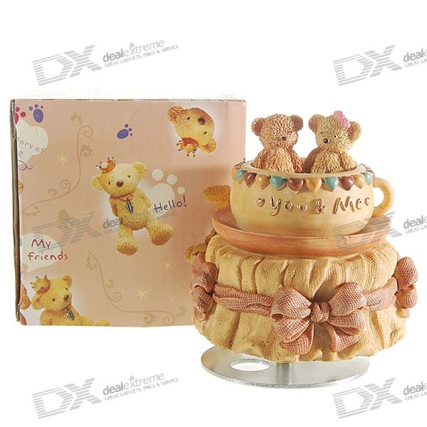 "Valentine's Day Gift - Lovely Bears ""You-n-Me"" Turning Music Box"