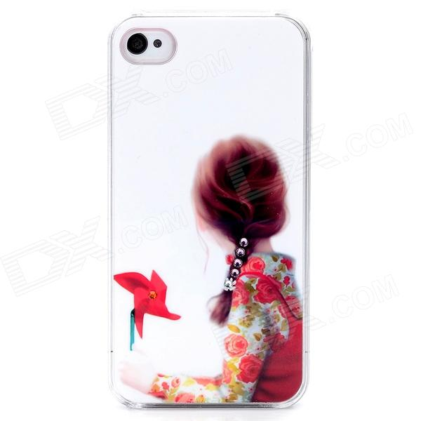 D4-013 Braid Girl and Windmill Pattern Plastic Back Case for Iphone 4 / 4S - White + Red protective cartoon silicone back case for iphone 4 4s red white