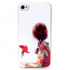 D4-013 Braid Girl and Windmill Pattern Plastic Back Case for Iphone 4 / 4S - White + Red