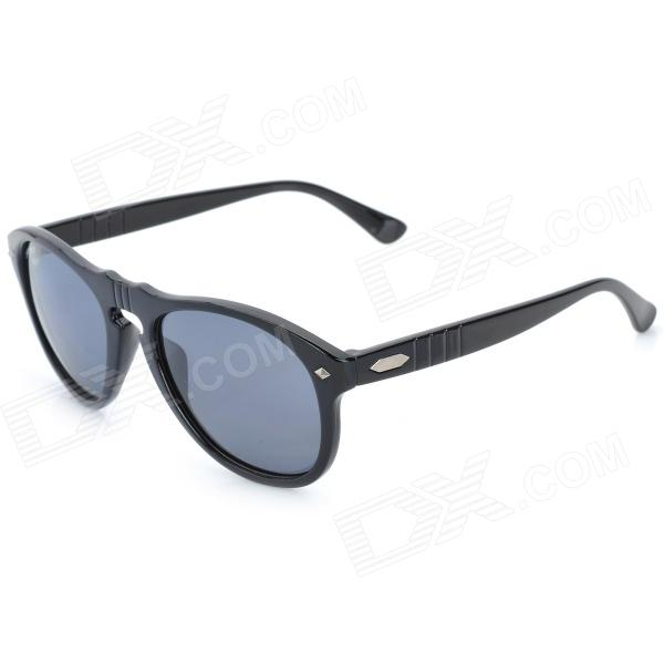 OREKA s997 Retro Style UV400 Protection Grey Resin Lens Polarized Sunglasses - Black carshiro 9150 uv400 protection resin lens polarized night vision driving glasses