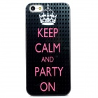 Imperial Crown and Words Pattern Plastic Back Case for Iphone 5 - Black + Pink