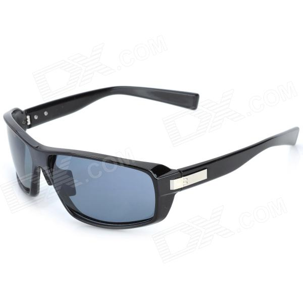 OREKA S1068 UV400 Protection Grey Resin Lens Polarized Sunglasses - Black carshiro 510 men s clip on resin lens uv400 protection polarized sunglasses grey
