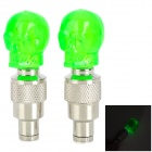 G33 Replacement Skull Style Car Tire Valve Cap - Green (3 x AG10)