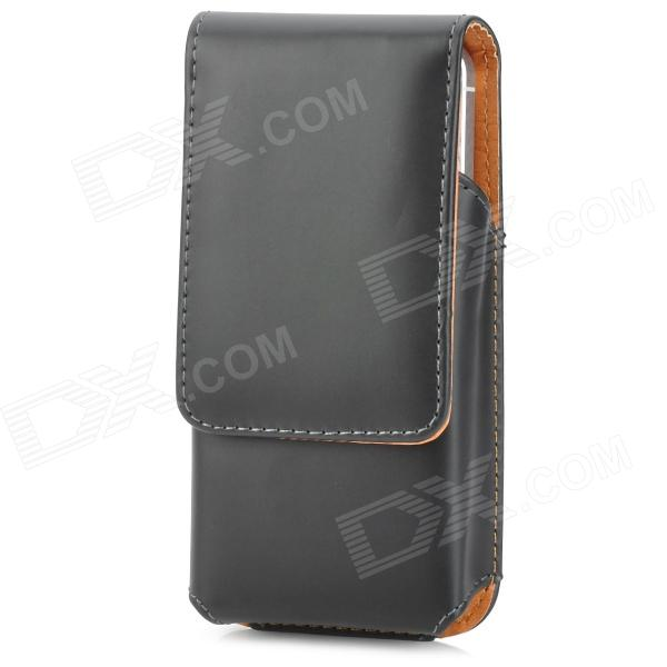 Protective PU Up-Down Flip-Open Waistband Case for Iphone 5 - Black up down flip leather protective case for leagoo lead 2