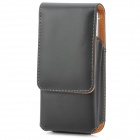 Protective PU Up-Down Flip-Open Waistband Case for Iphone 5 - Black
