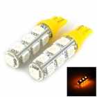 T10 2.5W 270lm 13-SMD 5050 LED Yellow Light Car Bulbs - Yellow + White