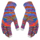 Fashionable Knitting Yarn Gloves for Touch Screen - Multicolored (Pair)
