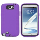 Protective Silicone Cover Plastic Back Case for Samsung Galaxy Note II N7100 - Purple + Black