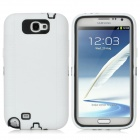 Protective Silicone Cover Plastic Back Case for Samsung Galaxy Note II N7100 - White + Black