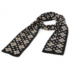 Men's Checked Pattern Cashmere Scarf - Black + Beige